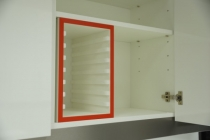 Traykast los voor 8 normtrays, rood, vuil,